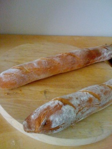 "Baguettes made from a recipe in Mark Bittman's ""How to Cook Everything"""